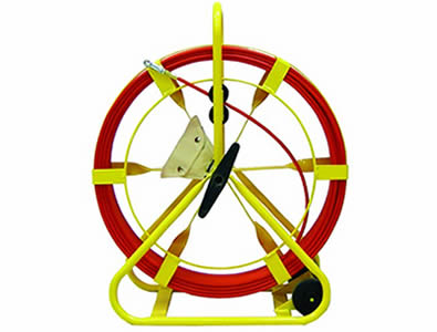 A wheeled duct rodder, yellow frame and red rod, with inboard wheel and an accessory kit.