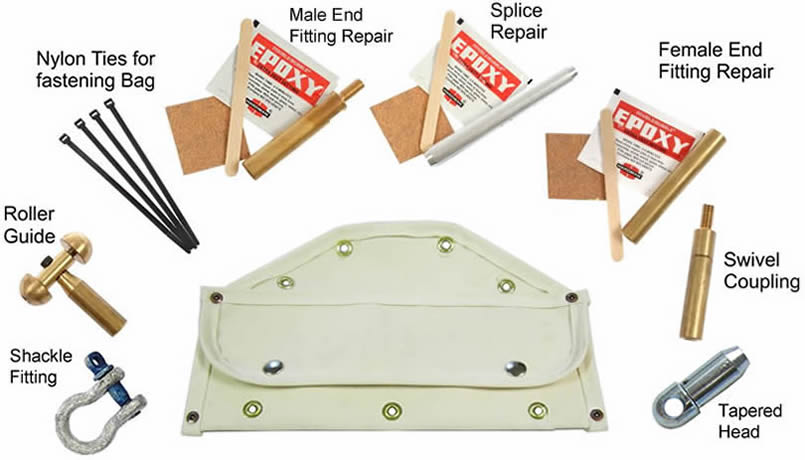 One black canvas repair kit, with four openings for attaching to the frame of the duct rodder.